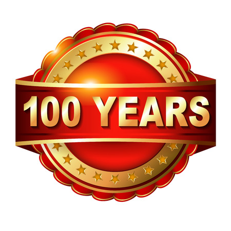 100 years anniversary golden  label with ribbon. photo
