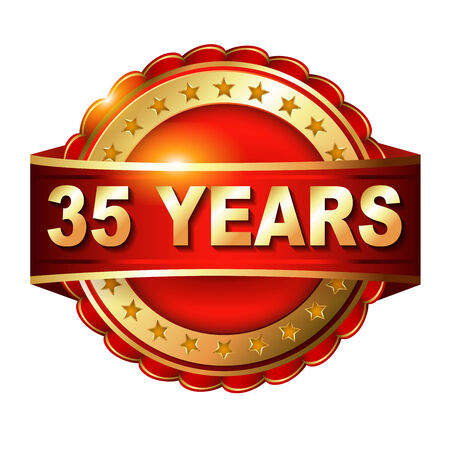 35th: 35 years anniversary golden label with ribbon. Stock Photo