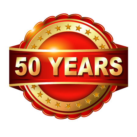top 50 icon: 50 years anniversary golden label with ribbon.