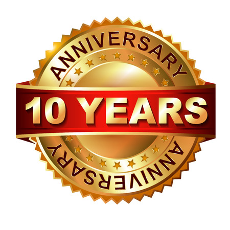 10 years anniversary golden label with ribbon. Vector eps 10 illustration.