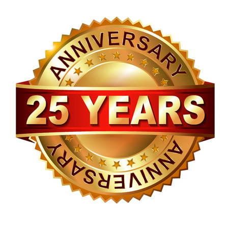 25 years anniversary golden label with ribbon. Vector eps 10 illustration. Archivio Fotografico