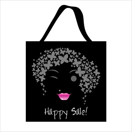 butterfly woman: Shopping butterfly woman bag design. Vector Illustration. Stock Photo