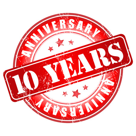 10 years: 10 years anniversary stamp.