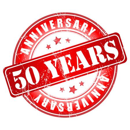 50 years anniversary: 50 years anniversary stamp. Vector illustration.