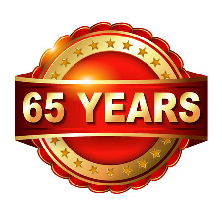 65: 65 years anniversary golden label with ribbon. Stock Photo