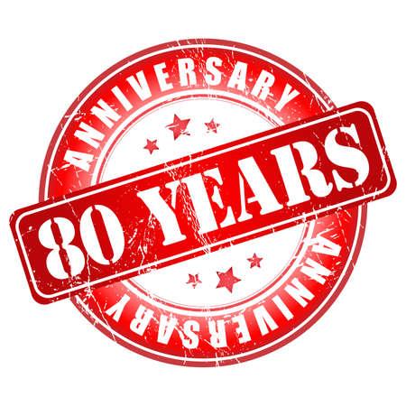 80 years: 80 years anniversary stamp. Vector illustration.
