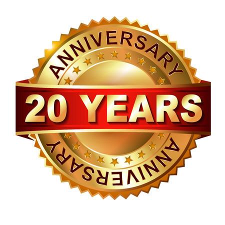 aniversario: Sello de oro de 20 años de aniversario con la cinta. Vectoriales eps 10 ilustración. Foto de archivo