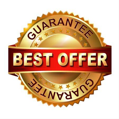 10 best: Best Offer  golden label with ribbon. Vector eps 10 illustration. Stock Photo