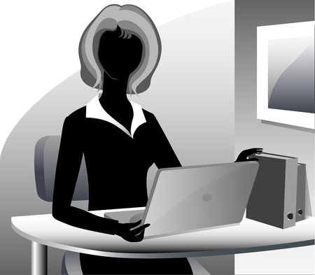 A cartoon secretary wearing a suit, working on her laptop computer. photo