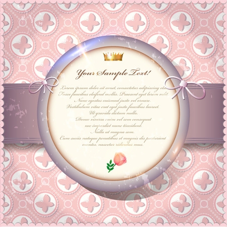Old invitation card with round label on pink butterfly background.  photo
