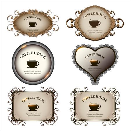 coffeehouse: Set of retro labels vintage design for restaurant, cafe, bar, coffeehouse  Vector illustration