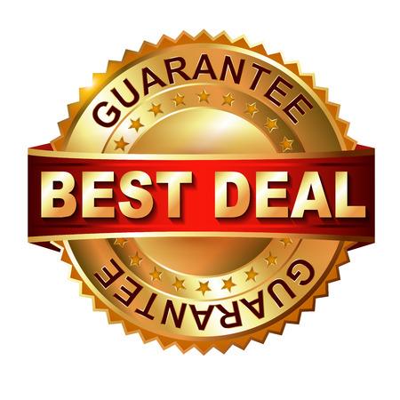 10 best: Best Deal  golden label with ribbon  Vector eps 10 illustration