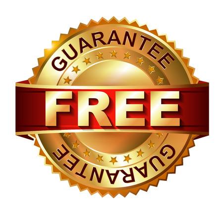 free range: Free golden label with ribbon  Vector illustration Stock Photo