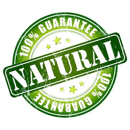 guarantee stamp: Natural, 100 guarantee stamp Stock Photo