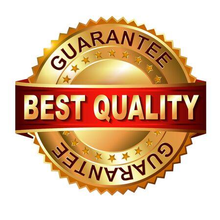 10 best: Best Quaiity  golden label with ribbon  Vector eps 10 illustration