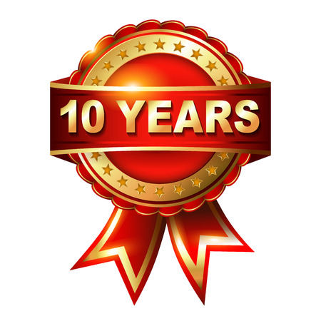 10 years anniversary: 10 years anniversary golden label with ribbon  Vector illustration Stock Photo