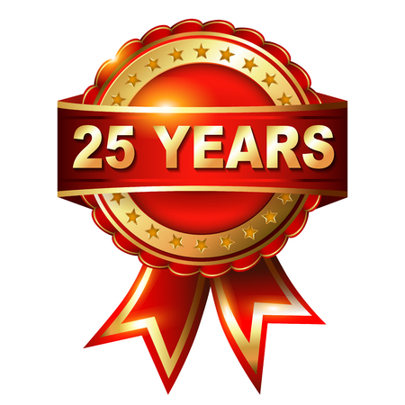 25: 25 years anniversary golden label with ribbon  Vector illustration