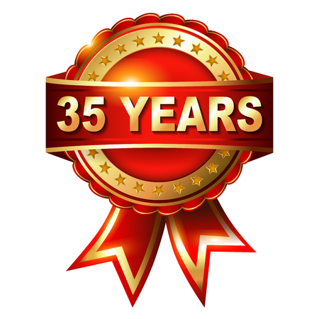 35 years: 35 years anniversary golden label with ribbon  Vector illustration