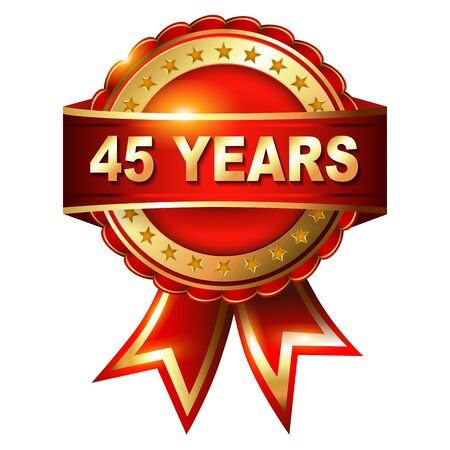 45 50 years: 45 years anniversary golden label with ribbon  Vector illustration Stock Photo