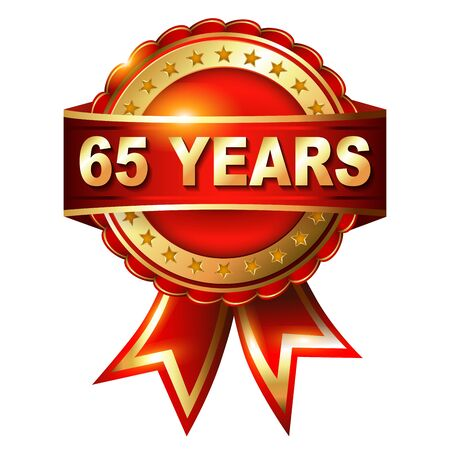 65th: 65 years anniversary golden label with ribbon  Vector illustration