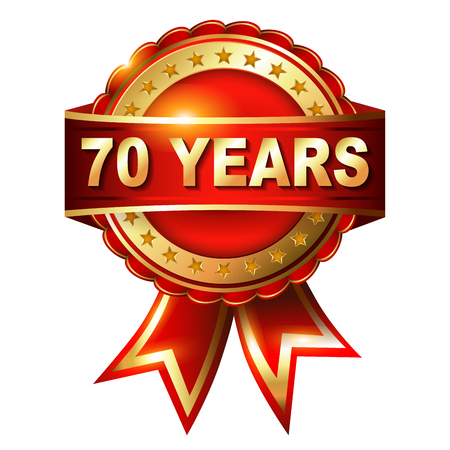 70 years: 70 years anniversary golden label with ribbon  Vector illustration Stock Photo