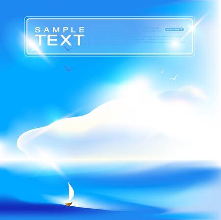 water animal bird card  poster: Landscape. Blue sky background. Vector art.