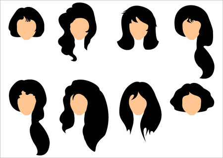 hair setting: Set of black hair styling for woman. Stock Photo