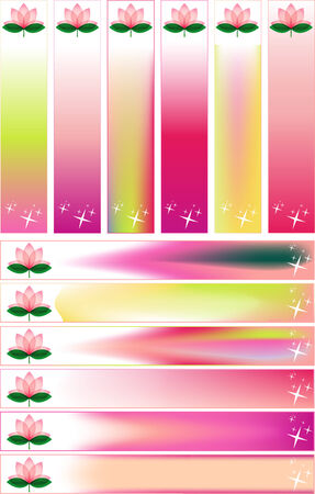 Lotus blossom Banner Set  with Stars  photo