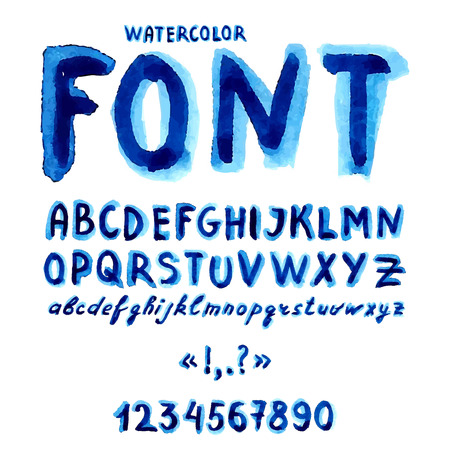 Handwritten watercolor alphabet with numbers and symbols. Vector Illustration. Vettoriali