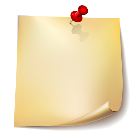 paper pin: Note paper with red pin on white background.   Vector illustration.