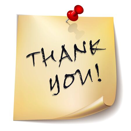 thank you note: \\\Thank you!\\\ note paper with red pin on white background. Card or background. Vector Illustration. Illustration
