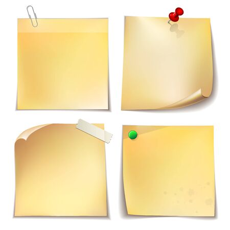 Note paper with metal paper clip, green and red push pins on white background.   Vector illustration