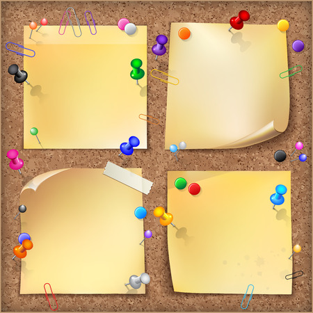 Note papers with pins and paper clips on cardboard background.   Vector illustration.