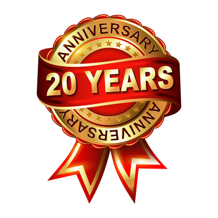20 years anniversary golden label with ribbon. Vector illustration. Vettoriali