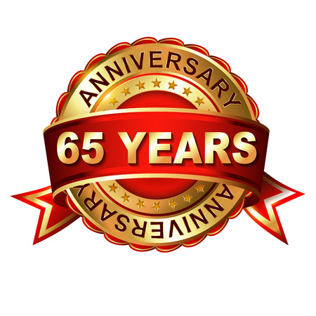 65th: 65 years anniversary golden label with ribbon.  Vector illustration.
