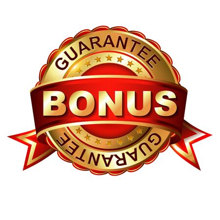Bonus guarantee golden label with ribbon.  Vector illustration.