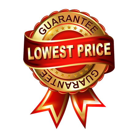 Lowest price guarantee golden label with ribbon. Vector illustration. Vettoriali