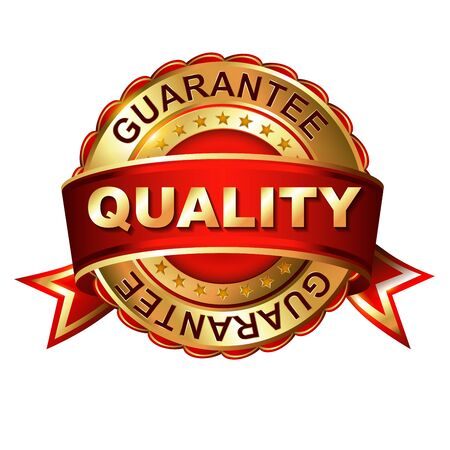 Quality guarantee golden label with ribbon.  Vector illustration. Vector