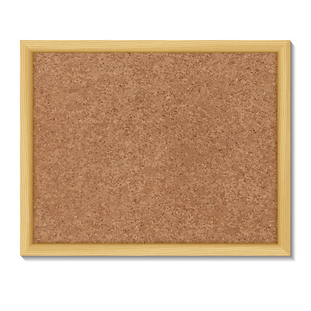 board pin: Brown cork board in a frame.    Vector illustration.
