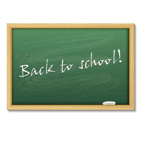 green board: Back to school card or background. Blank chalk green board in a wood frame on white background.    Vector illustration. Illustration