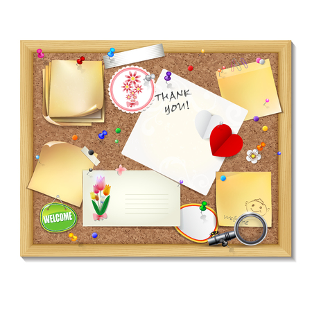 paper clips: Note papers with pins and paper clips on cardboard background.    Vector illustration.