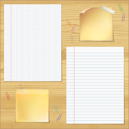 wood table: Sells and strips notebook paper with paper clips on wood table background.    Vector illustration.