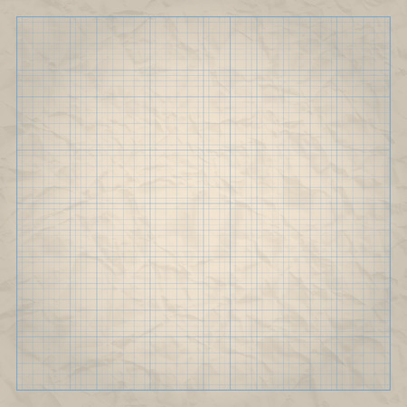guides: Square millimeter engineering grid paper on old paper background.    Vector illustration.