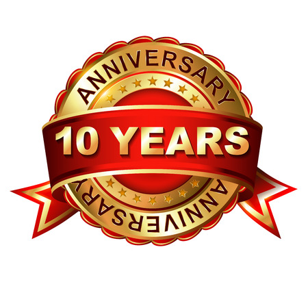 10 years anniversary golden label with ribbon. Vector illustration.