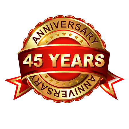 45th: 45 years anniversary golden label with ribbon.  Vector illustration.