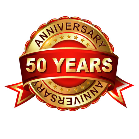50 years anniversary golden label with ribbon. Vector illustration.
