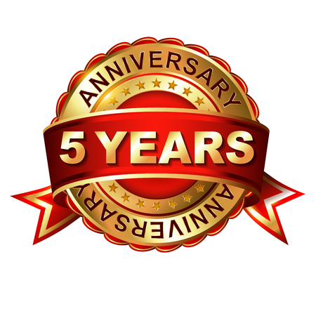 5 years anniversary golden label with ribbon. Vector illustration. Vettoriali