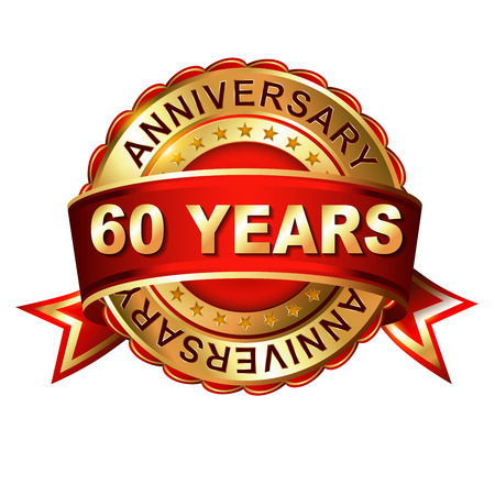 60 years: 60 years anniversary golden label with ribbon.  Vector illustration.