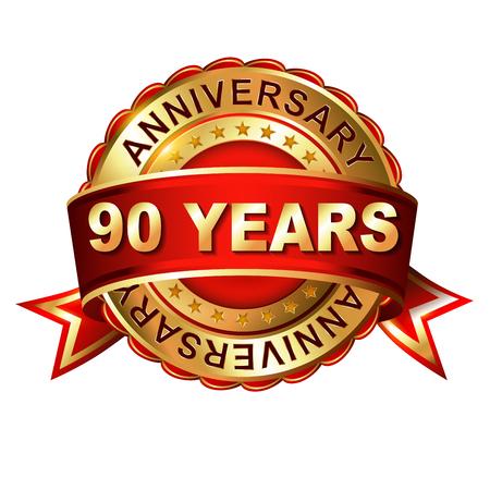 90 years: 90 anni anniversario etichetta d'oro con il nastro. Illustrazione vettoriale. Vettoriali