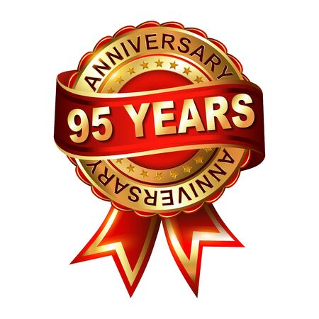 95: 95 years anniversary golden label with ribbon.  Vector illustration. Illustration